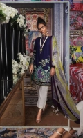 Printed pure lawn front: 1.25m Printed pure lawn back: 1.25m Printed pure lawn sleeves: 0.65m Printed blend chiffon Dupatta: 2.5m Embroidered daman on dyed organza.  Dyed cotton pants