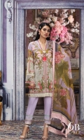 Digitally printed pure lawn front: 1.25m Digitally printed pure lawn back: 1.25m Digitally printed pure lawn sleeves: 0.65m Printed blend chiffon Dupatta: 2.5m Embroidered bodice on dyed organza.  Dyed cotton pants