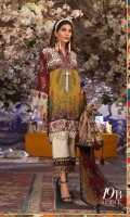 Digitally printed pure lawn front: 1.25m Digitally printed pure lawn back: 1.25m Digitally printed pure lawn sleeves: 0.65m Printed blend chiffon Dupatta: 2.5m Embroidered border on dyed organza.  Dyed cotton pants