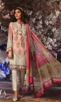 Digitally printed pure lawn front: 1.25m Digitally printed pure lawn back: 1.25m Digitally printed pure lawn sleeves: 0.65m Printed blend chiffon Dupatta: 2.5m Embroidered patches on dyed organza.  Dyed cotton pants