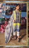 Embroidered pure lawn front: 1.25m Digitally printed pure lawn back: 1.25m Digitally printed pure lawn sleeves: 0.65m Printed blend chiffon Dupatta: 2.5m Embroidered border on dyed organza.  Dyed cotton pants