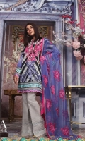 Digitally printed pure lawn front: 1.25m Digitally printed pure lawn back: 1.25m Digitally printed pure lawn sleeves: 0.65m Embroidered net Dupatta: 2.5m Embroidered neck on dyed organza.  Dyed cotton pants
