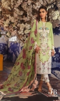 Digitally printed pure lawn front: 1.25m Digitally printed pure lawn back: 1.25m Digitally printed pure lawn sleeves: 0.65m Printed blend chiffon Dupatta: 2.5m Embroidered neck on organza.  Dyed cotton pants