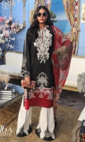 Printed pure lawn front: 1.25m Printed pure lawn back: 1.25m Printed pure lawn sleeves: 0.65m Digital Printed poly silk Dupatta: 2.5m Embroidered neck on dyed organza.  Printed cotton pants