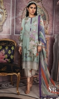Digitally printed pure lawn front: 1.25m Digitally printed pure lawn back: 1.25m Digitally printed pure lawn sleeves: 0.65m Printed blend chiffon Dupatta: 2.5m Embroidered on dyed organza.  Printed cotton pants
