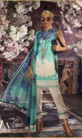 Printed pure lawn front: 1.25m Printed pure lawn back: 1.25m Printed pure lawn sleeves: 0.65m Printed blend chiffon Dupatta: 2.5m Embroidered Daman on organza.