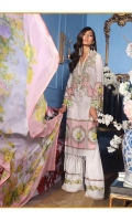Digitally printed pure lawn front: 1.25m Digitally printed pure lawn back: 1.25m Digitally printed pure lawn sleeves: 0.65m Digital Printed poly silk Dupatta: 2.5m Embroidered neck on dyed organza.  Dyed cotton pants