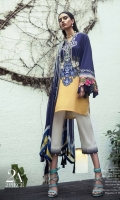 Pure lawn Kameez in navy blue with Chinese ornament patterns contrasted with acid yellow color block design and silk thread floral embroidery. Paired with a modern geometric printed dupatta in complementary colors. Fabric: Lawn shirt. Blend chiffon printed dupatta. Silk thread embroidery border.