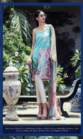 Pure lawn mint green Kameez incorporated with modern fusion of Mughal patterns offset with silk thread heavy embroidery in floral design. Paired With a cream complimentary printed dupatta. Fabric: Lawn shirt, Embroidered on front. Blend chiffon dupatta
