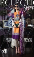 Pure lawn Kameez in color blocking of orange and purple offset by an antique fusion of Mughal and Persian floral design. Offset with gara embroidery patterns on sleeves. Paired With a cream and purple printed dupatta.  Fabric: Lawn shirt, Embroidered sleeves. Blend chiffon dupatta