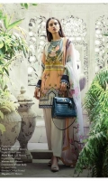 Peach and Grey color blocked lawn Kameez offset by modern Chinese and flora design with rich embroidered bodice. Paired with a complementary cream dupatta with peach and pink floral pattern.  Fabric: lawn shirt with blend chiffon dupatta. Silk thread Embroidery body