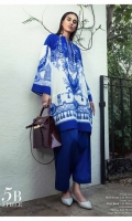 Royal Iznik blues with white paste printed lawn Kameez with classic placements of Mughal ornaments and floral design. Paired with blue pants.  Fabric: Lawn shirt, lawn pants