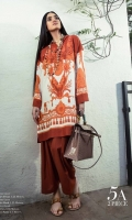 Burnt oranges with white paste printed lawn Kameez with classic placements of Mughal ornaments and floral design. Paired with burnt orange pants.  Fabric: Lawn shirt, Lawn pants