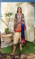 Digitally printed front on LINEN: 1.20m Digitally printed back on LINEN: 1.20m Digitally printed sleeves on LINEN: 0.65m Embroidered neckline Dyed pants: 2.5m Printed Dupatta on SILVER CHIFFON: 2.5m