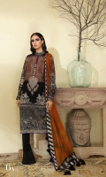 Digitally printed front on SLUB: 1.20m Digitally printed back on SLUB: 1.20m Digitally printed sleeves on SLUB: 0.65m Dyed pants: 2.5m Printed SILVER CHIFFON DUPATTA: 2.5m