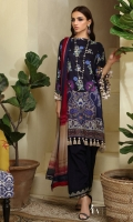 Digitally printed front on LINEN: 1.20m Digitally printed back on LINEN: 1.20m Digitally printed sleeves on LINEN: 0.65m Dyed pants: 2.5m Printed Dupatta on SILVER CHIFFON: 2.5m