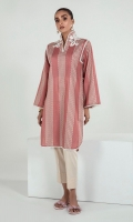 A high neck shirt with beautiful embroidered bunches, elegant lace details and a creative round daman. Fashionista mode on
