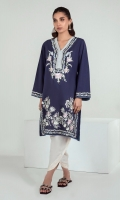A stunning navy blue shirt with floral embroidery all over and light blue piping. Beautiful and chic