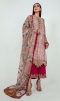 A charming composition designed in an appealing shirt adorned with delicate floral embroidery in gold zari, contrasted hues completed with sequins and pearls. Enhanced with contrasted fabric buttons and lace details. It comes with a matching block printed and zari embroidered dupatta and a dark pink embroidered culotte to complete the look