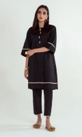 Redefine charm with this minimal shirt featuring a beautiful V-neck and elegant lace on bell sleeves, neck and daman
