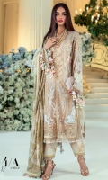 FRONT EMBROIDERED TULLE NET 1.25 MTR BACK EMBROIDERED TULLE NET 1.25 MTR SLEEVES EMBROIDERED TULLE NET 0.65 MTR DYED VISCOSE SLIP FABRIC 2.5 MTR TULLE NET FOIL PRINTED DUPATTA 2.5 MTR GOLD PASTE PRINTED RAW SILK TROUSER 2.5 MTR