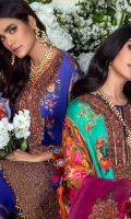 POLY SATIN DIGITAL PRINTED FRONT 1.15 MTR POLY SATIN DIGITAL PRINTED BACK 1.15 MTR POLY SATIN DIGITAL PRINTED SLEEVES 0.65 MTR CORD NECK EMBROIDERY ON POLY SATIN 1 PC CORD EMBROIDERED DAAMAN BORDER ON ORGANZA 1 MTR DIGITAL PRINTED ORGANZA DUPATTA 2.5 MTR DYED RAW SILK TROUSER FABRIC 2.5 MTR
