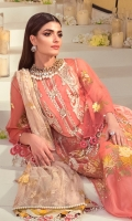 FRONT EMBROIDERED TULLE NET 1.25 MTR BACK EMBROIDERED TULLE NET 1.25 MTR SLEEVES EMBROIDERED 0.65 MTR 4 TILLA EMBROIDERED KUFLS ON ORGANZA 4 EMBROIDERED AND HAND WORK BUTTONS ON ORGANZA EMBROIDERED TULLE NET DUPATTA 2.5 MTR VISCOSE DYED SLIP FABRIC 2.5 MTR GOLD PASTE PRINTED RAW SILK TROUSER 2.5 MTR
