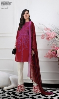Dyed front on dobby fabric: 1.08m Dyed back on dobby fabric: 1.08m Printed sleeves on dobby fabric: 0.75m Embroidered panel on dobby. Printed borders: 2m Printed patti : 4m Printed pants: 2.5m Printed silver chiffon Dupatta: 2.5m