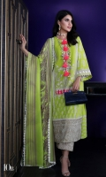 Printed front on dobby fabric: 1.08m Printed back on dobby fabric: 1.08m Printed sleeves on dobby fabric: 0.75m Embroidered panel on dyed dobby. Printed cotton pants with gold chap borders: 2.5m Printed silver chiffon Dupatta : 2.5m