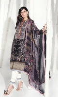 Printed front on dobby fabric: 1.25 m Printed back on dobby fabric: 1.25 m Printed sleeves on dobby fabric: 0.75m Embroidered neck on organza. Embroidered borders: 2m Printed border: 4m Printed pants: 2.5m Printed silver chiffon Dupatta: 2.5m