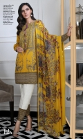 Printed front on dobby fabric: 1.25 m Printed back on dobby fabric: 1.25 m Printed sleeves on dobby fabric: 0.75m Embroidered neck on organza . Embroidered borders: 2m Printed border : 4m Printed pants : 2.5m Printed silver chiffon Dupatta : 2.5m