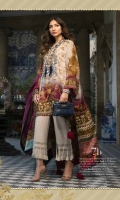 The ultimate vision of majestic femininity! Shades of Crimson and scarlet fluidly blend together on a beige crepe kameez, with digitally printed Mughal motifs. This is paired with Indian raw silk trousers to complete the look.
