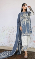 Printed front on lawn: 1.15m Printed back on lawn: 1.15m Printed sleeves on lawn: 0.65m Embroidery on organza Printed cotton pants: 2.5m Printed cotton weave net dupatta: 2.5m