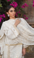 Printed front on lawn: 1.15m Printed back on lawn: 1.15m Printed sleeves on lawn: 0.65m 01-Embroidered kuful on organza 01-meter Embroidered patti on organza Printed cotton pants: 2.5m Dyed blended zari and cotton weave Dupatta: 2.5m Printed border on lawn 1mtr