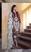 Printed front on lawn: 1.15m Printed back on lawn: 1.15m Printed sleeves on lawn: 0.65m 2 Embroidered bunches for sleeves on organza Printed cotton pants: 2.5m Printed cotton weave net dupatta: 2.5m