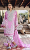 Printed front on lawn: 1.15m Printed back on lawn: 1.15m Printed sleeves on lawn: 0.65m Embroidered neck on tissue. Printed cotton pants: 2.5m Printed blended zari and cotton weave Dupatta: 2.5m