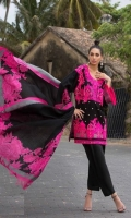 Florescent pink shirt with Balochi inspired woolen thread embroidery on a black slub base with printed back and sleeves. Cotton dyed fabric trouser accompanied with a bold printed woolen shawl with a floral printed border.