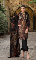 Black slub base shirt with Afghani carpet inspired embroidered front. Digitally printed back and sleeves with dyed cotton pants and a woolen printed shawl with Afghani carpet design accents.