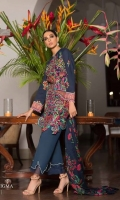 Blue slub base shirt with Afghani carpet inspired embroidered front. Digitally printed back and sleeves with dyed cotton pants and a woolen printed shawl with Afghani carpet design accents.
