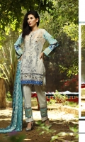 Shirt : Printed Cambric Shirt with Embroidered Front / Tissue Bunches. Dupatta : Printed Broshia Jacquard Dupatta Trouser : Plain Cambric