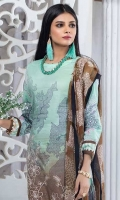 -Shirt : Printed Lawn with Embroidered Front -Printed Chiffon Dupatta. -Dyed Cambric Trouser