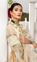Embroidered Organza Shirt Front – 0.75 yard Embroidered Organza Shirt Back – 1.5 yards Embroidered Organza Daman Patch Front and Back – 2 Pieces Embroidered Organza Sleeves – 0.75 yard Embroidered Net Dupatta with Patti – 2.75 yards Jamawar Trouser – 2.5 yards