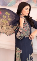 Embroidered Lawn Shirt Front 0.72 yard  Dyed Lawn Back 1 yard  Embroidered Lawn Sleeves 0.75 yard  Dyed Cotton Cambric Trouser 2.5 yard  Digital Printed Chiffon Dupatta 2.75 yard