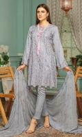 Chikankari Lawn Shirt Embroidered Chiffon Dupatta Dyed Trouser