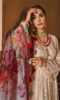 Embroidered Chiffon Front Central Panel 1 Embroidered Chiffon Front Side Panels 2 Embroidered Chiffon Back Central Panel 1 Embroidered Chiffon Back Side Panels 2 Embroidered Chiffon Sleeves 0.67 Mtr Digital Printed Organza Dupatta 2.5 Mtr Dyed RawSilk Trouser 2.5 Mtr