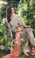 *EMBROIDERED FRONT                                 1.15M  *EMBROIDERED BACK                                    1.15M  *EMBROIDERED SLEEVES                              .07M  *JAMAWAR PANT                                           2.3M  *PURE JAMAWAR DUPATTA                       2.5M  *WHITE PAK PURE SILK SLIP                         2.3M  *SHIRT HAND MADE MOTIVES                   03 Piece  *FRONT & BACK SIDE EMB LACE 1             26 in  *FRONT & BACK SIDE EMB LACE 2             26in  *FRONT & BACK SIDE EMB LACE 3             26in