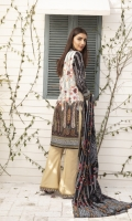 Printed Lawn Shirt with Embroidered boder Printed Sleeves Printed Lawn Dupatta (2.5mtr) Printed Lawn Extra Patch Trouser Lace Dyed Trouser (2.5mtr)