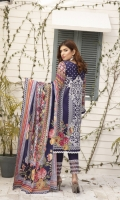 Printed Lawn Shirt with Embroidered Panal Printed Lawn Sleeves Printed Lawn Dupatta (2.5mtr) Printed Lawn Extra Patch Trouser Lace Dyed Trouser (2.5mtr)