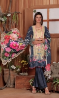 Digital Printed Krandi Shirt with Embroidered Front (3mtr) Schiffli Embroidery Sleeves Digital printed Krandi Dupatta (2.5 mtr) Dyed Trouser (2.5mtr)