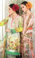 03 pcs unstitched digital printed & embroidered Lawn with Chiffon dupatta